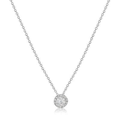 Bezeled Halo Pendant with Cable Chain