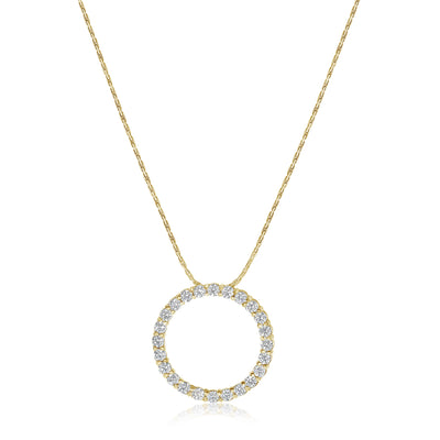 Diamond Circle Pendant - Shared Prong