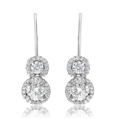 Two Stone Halo Drop Earrings