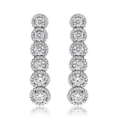 Six Stone Halo Drop Earrings