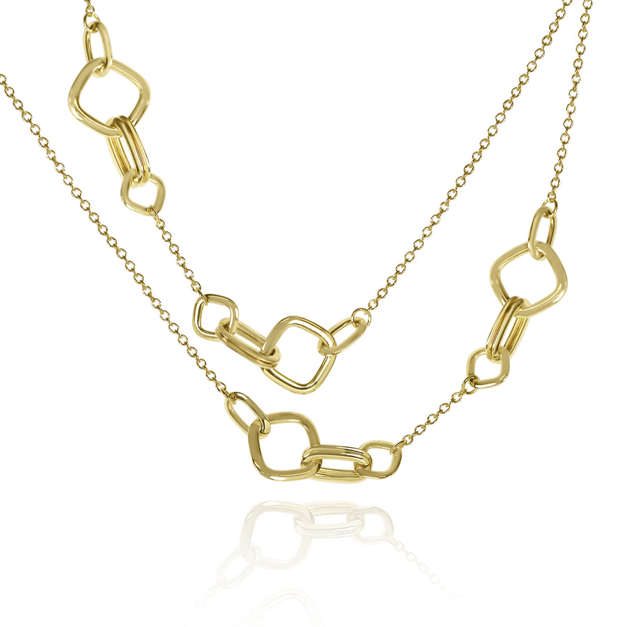 "Gold Square Link 28"" Necklace"