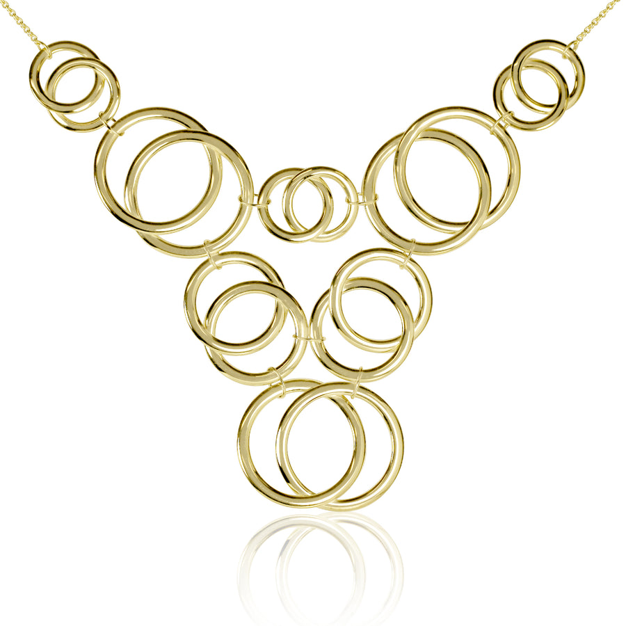 Gold Circle Statement Y Necklace