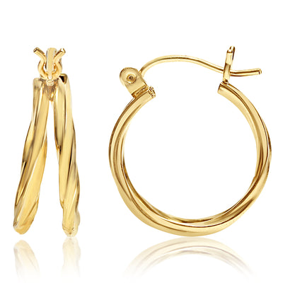 Gold Twisted Double Hoops