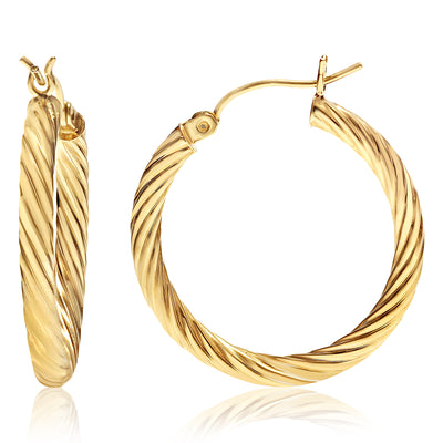 Gold Rope Hoops - Short & Wide