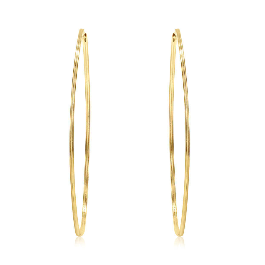 Gold Long & Skinny Oval Shape Hoops