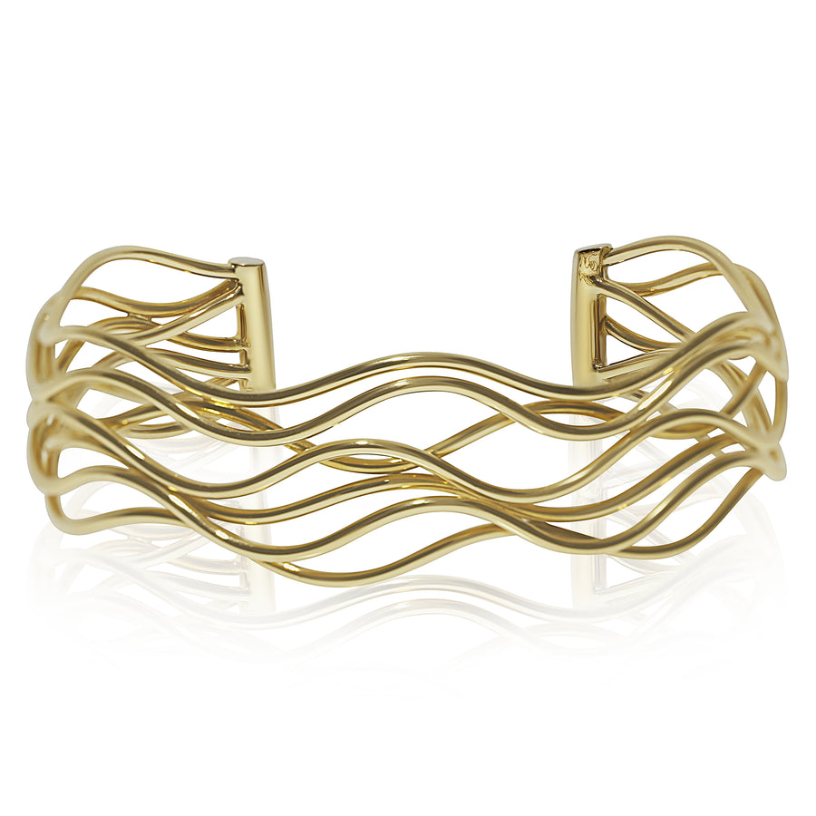 Large Gold Wave Cuff