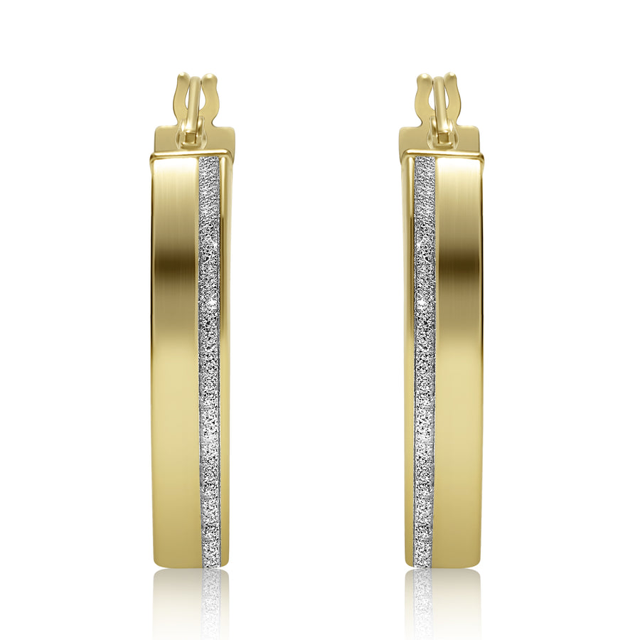 Two-Tone Wide Hoops with Diamond Cut Stripe