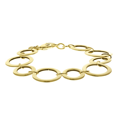 Gold Alternating Circle Link Bracelet