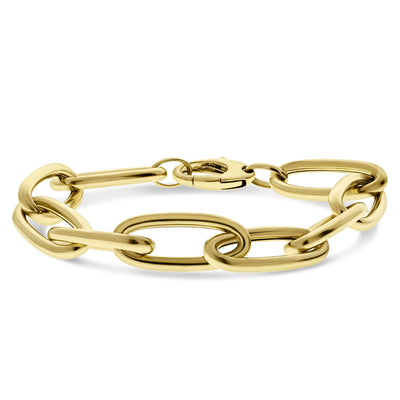 Gold Elongated Chunky Cable Bracelet