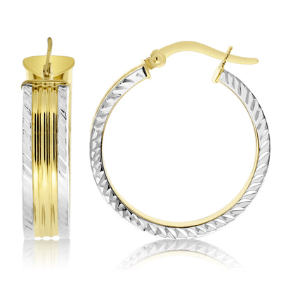 Gold Mixed Metal Striped Hoops