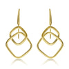 Gold Graduated Square Link Drop Earrings