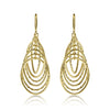 Gold Rippled Texture Circle Drop Earrings