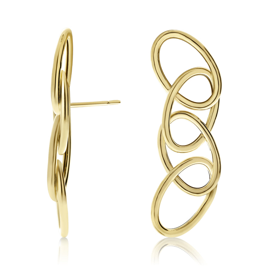 Gold Four Ovals Stiff Drop Stud Earrings