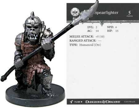 Orc Spearfighter #74 Harbinger D&D Miniatures