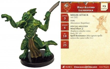 Half-Illithid Lizardfolk #34 Aberrations D&D Miniatures