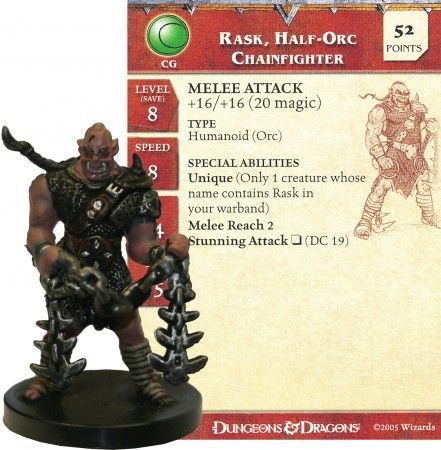 Rask, Half-Orc Chainfighter #22 Deathknell D&D Miniatures