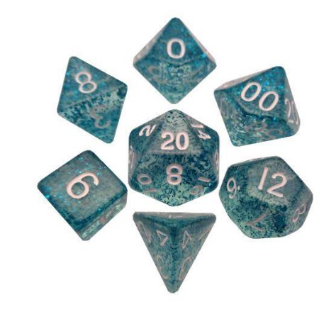 7-Set Mini: 10mm: Ethereal Light Blue with White Numbers