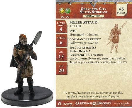 Greyhawk City Militia Sergeant #13 Night Below D&D Miniatures