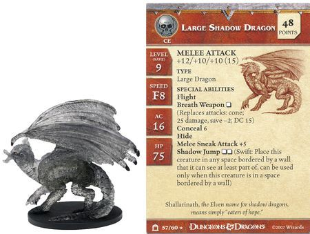 Large Shadow Dragon #57 Night Below D&D Miniatures