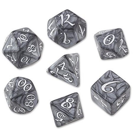 Classic RPG Dice, Set of 7 - Smoky & White