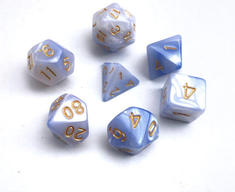 Light Blue/White Blend Dice Set