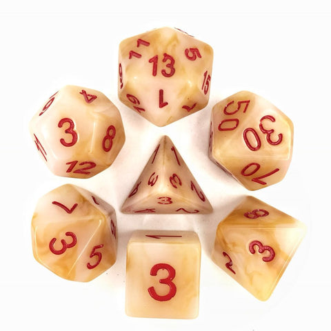 White with Red Numbers Jade Dice Set