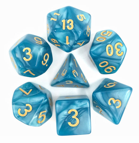 Light Blue with Golden Numbers Pearl Dice Set