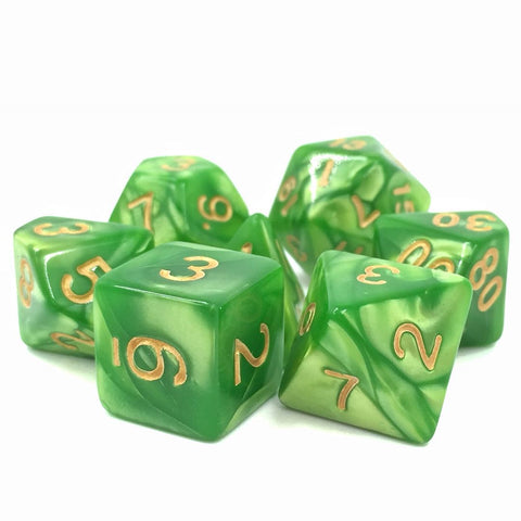 Light Green with Golden Numbers Pearl Dice Set