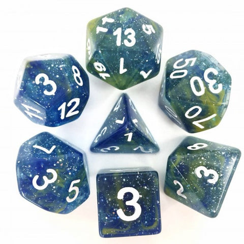 Blue/Yellow Galaxy Dice Set