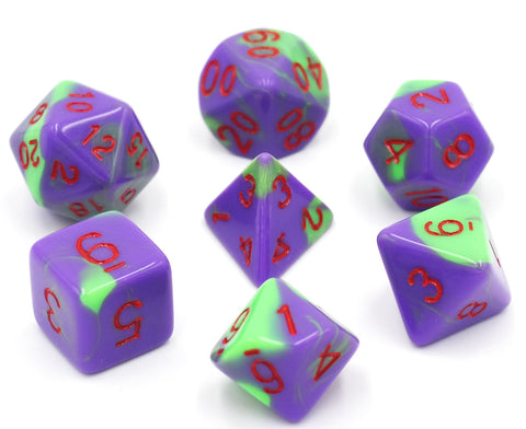 Purple/Green with Red Numbers Blend Dice Set