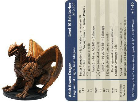 Adult Brown Dragon #01 Legendary Evils D&D Miniatures