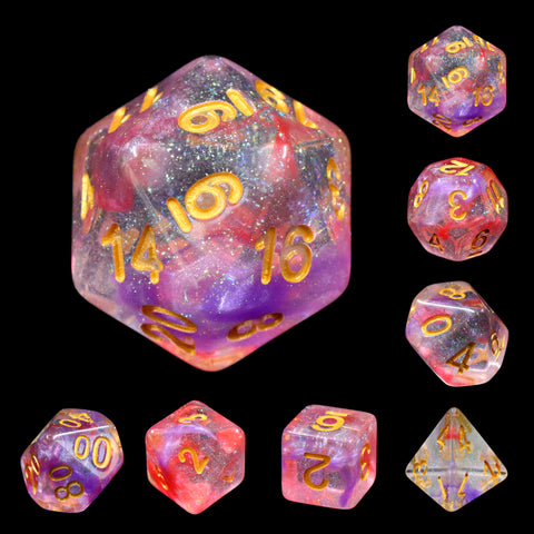 Luminous Ruby Dice Set
