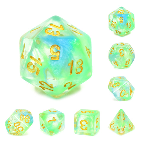 Green/Blue Pearl Swirl Dice Set
