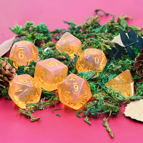 Orange Iridescent Dice Set