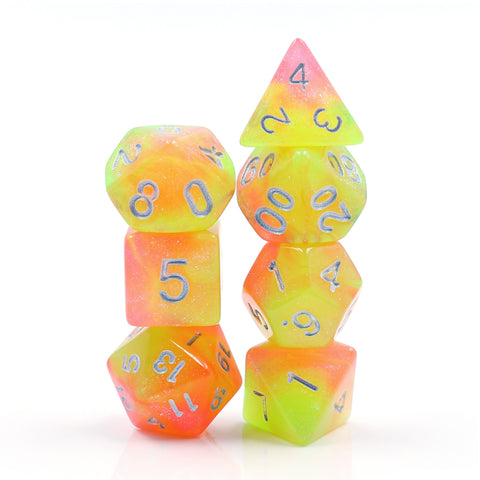 Neon Creamsicle Dice Set