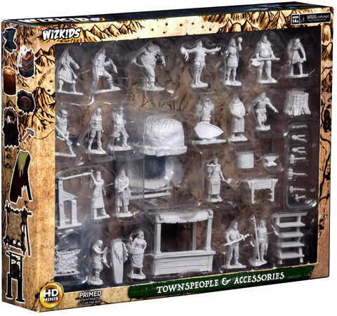 WizKids Deep Cuts Unpainted Miniatures: Townspeople & Accessories