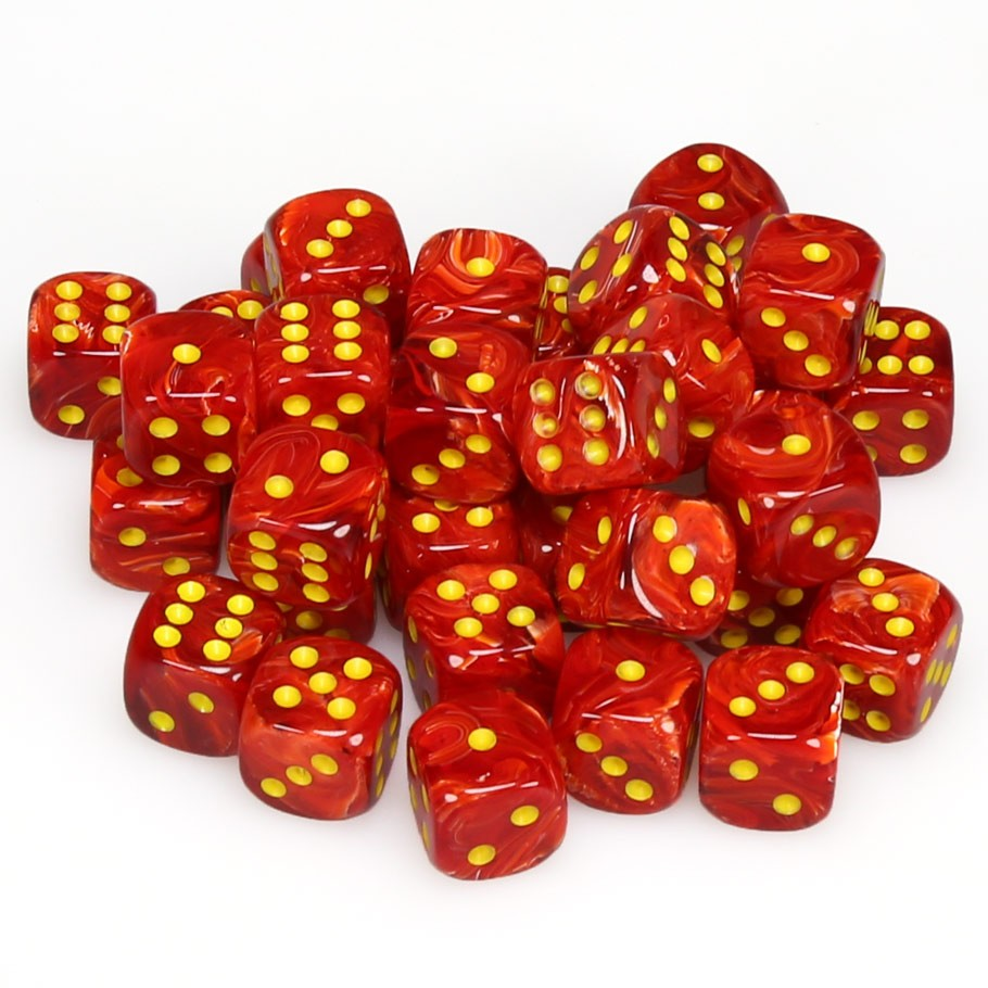 d6 Cube - Vortex: 12mm Red with Yellow Set (36 dice)