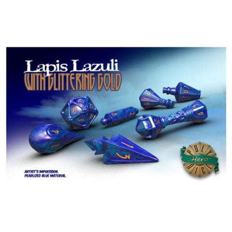 PolyHero Dice: Wizardstone Lapis Lazuli with Glittering Gold Dice Set (7)