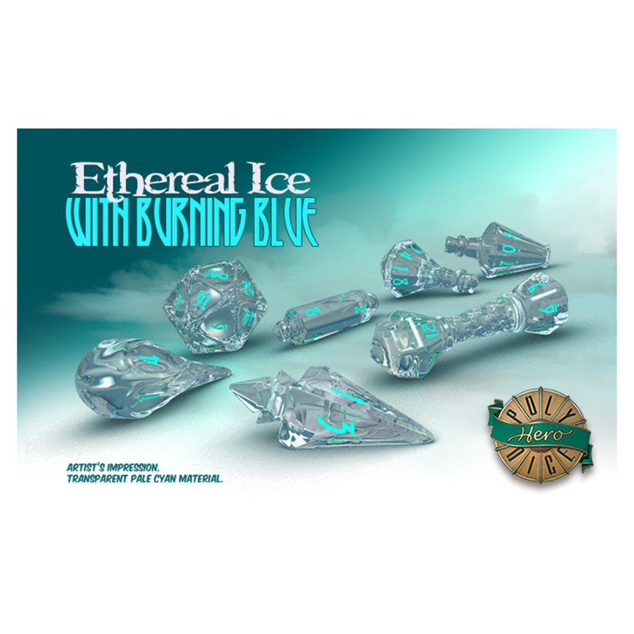 Wizard Dice: Ethereal Ice with Burning Blue