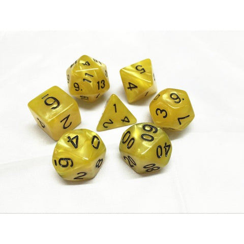 Yellow with Black Numbers Pearl Dice Set