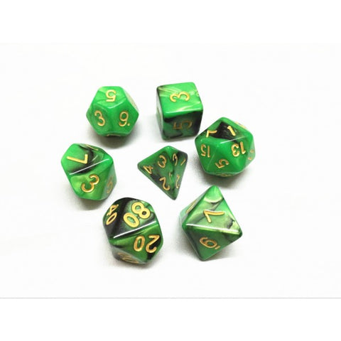 Green/Black Blend Dice Set