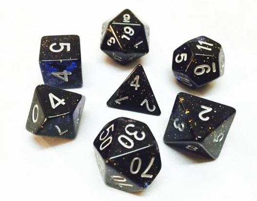 Blue Glitter Dice Set
