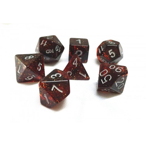 Red Glitter Dice Set