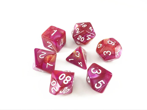 Yellow/Rose Red Blend Dice Set
