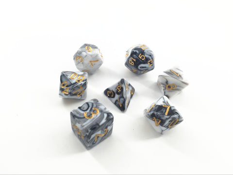 Opaque White and Black Blend Dice Set