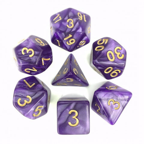 Purple with Golden Numbers Pearl Dice Set