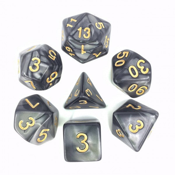 Black with Golden Numbers Pearl Dice Set