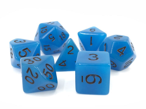 Blue Glow in the Dark Dice Set