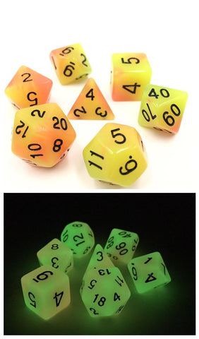 Yellow/Orange Glow in the Dark Dice Set