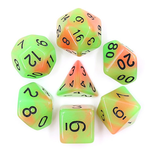 Orange/Green Glow in the Dark Dice Set